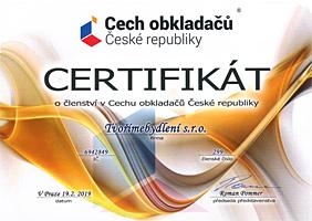 Certifikát Cech obkladačů